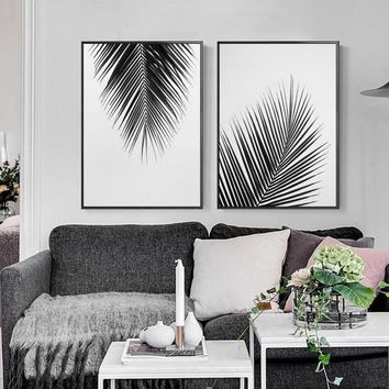 Nordic Minimalist Black White Palm Tree Leaves Canvas Painting Posters Prints Home Living Room Plant Wall Art Decorative Picture