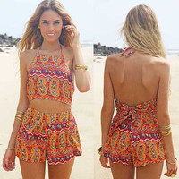 Orange Paisley Print Cropped Top and Shorts