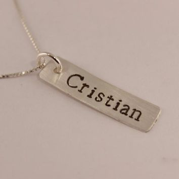 Small, custom sterling silver name, roman numeral or date necklace - layering necklace