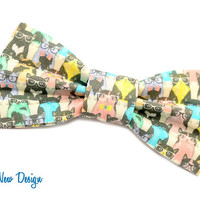 Hipster Cats Bow Tie, Adjustable Strap, Cat Bowtie