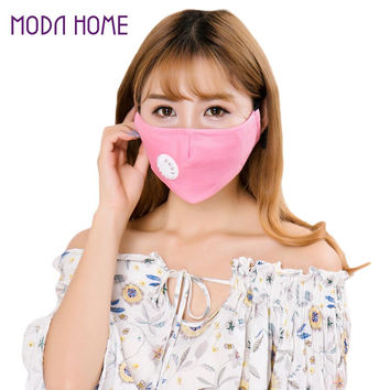 Kpop Men Women Anti-Pollution Mask Exhaust Valve Strap Korean Mouth Mask Filter Nose Clip Foldable Cold Weather Earloop Mask SM6