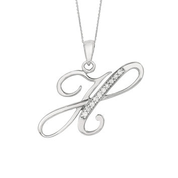 """H"" Sterling Silver Rhodium Plated Script Initial Letter With Diamonds On 18 Inch Chain ( 0.05 Tcw)"