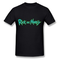CaiTian Men's Adult Animated TV Rick And Morty Wordmark Logo T-Shirt - Love T Shirt Black US Size S