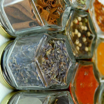 ORGANIC SPICES!  Your Choice of Personalized Jars (1.5 oz). Hand-Stamped Magnetic Spice Rack for Your Fridge. Unique Spice Storage.