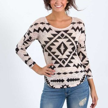 Ginger G Aztec Print Sublimated Long Sleeve Top for Women 9695WTPE