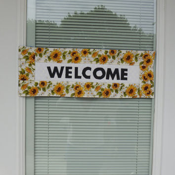Quilted Welcome Hanging, Quilted Welcome Banner, Summer Welcome Banner, Handmade Welcome Banner