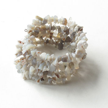 Stacking bangle bracelets - summer beach white stone -  4 in one