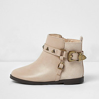 Mini girls brown western buckle ankle boots