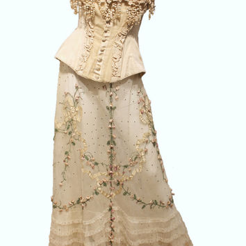 Antique Edwardian Wedding  Corset Top S/M Museum Quality (skirt not included)