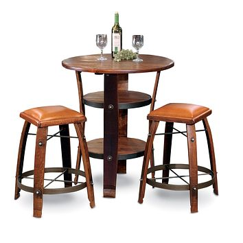 "Wine Barrel Stave Stool Tan Leather 24"" by 2 Day Designs 818T24"