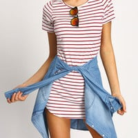 Casual White with Red Stripes Shift Dress