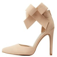 Ankle Bow Pointed Toe D'Orsay Pumps