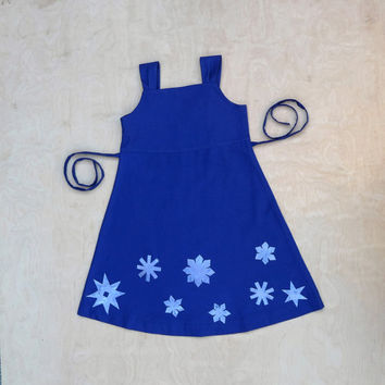 Girls pinafore dress. Snowflake appliqué dress. Midnight blue. Winter Toddler/baby pinafore