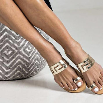 "Elegant gold meander styled sandals ""Jacinta"". Chic design and durable materials combined in a unique sandal. (large sizes available)"