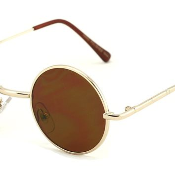 Casual Fashion Small Round Circle Thin Metal Frame Unisex Sunglasses Lennon