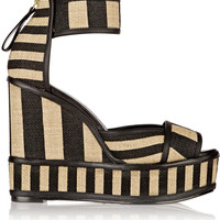 Pierre Hardy - Striped basketweave jute and leather wedge sandals