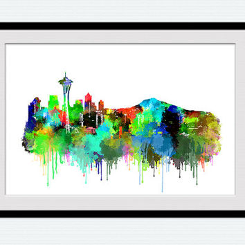 Seattle water color poster, Seattle skyline print, colorful poster for gift, home decoration, office decor, wall hanging, living room, W121