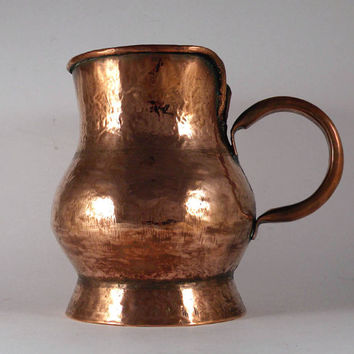 French vintage copper tankard. French Antique copper-ware. Antique copper container. French copper pitcher. French farmhouse. Cottage Chic