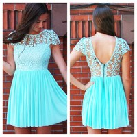 Blue Mint Floral Crochet Top Dress with Sheer V-Back