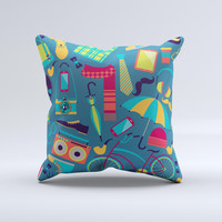 Retro Colorful Hipster Pattern V2 ink-Fuzed Decorative Throw Pillow