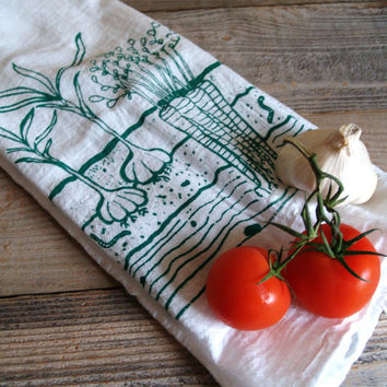 Vegetable Garden Kitchen Tea Towel - Flour Sack Material
