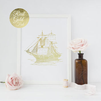 Nautical Ship Print, Gold Ship Poster, Maritime Print, Real Gold Foil, Old Ship Wall Decor, Nautical Decor, Gold Decor, Pirate Ship Print