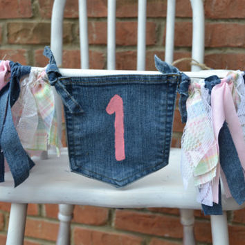 girl denim high chair banner, pink 1, pocket full of posies, 1st  birthday decor, cake smash decor, girl high chair banner