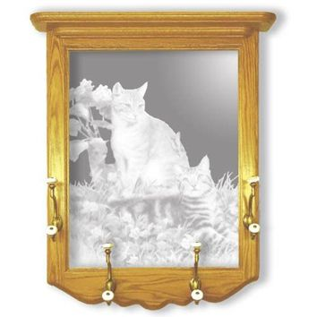 """""""Hobbes and Topper"""" Cat Etched Glass Art Coat Racks"""
