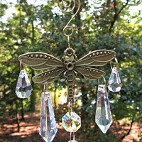 Crystal Sun Catcher, Dragonfly Gift,  Feng Shui Pendant, Car Mirror Accent, Garden Decor,  Glass Sun Catcher, Crystal Gift, Yard Art,  SC408