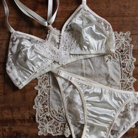 Modern Bohemian 'Lily' Ivory Satin and Lace Bralette and Panties Lingerie Set Handmade to Order in Your Size