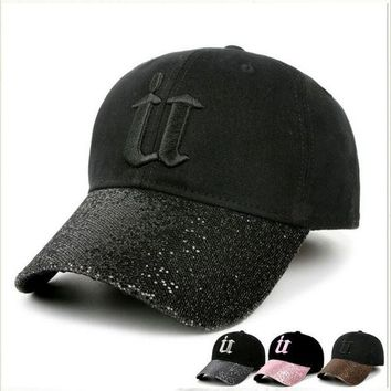DCCKU62 2017 denim cap women bling rhinestone baseball caps fitted Diamond embroidery letter solid caps hats for women