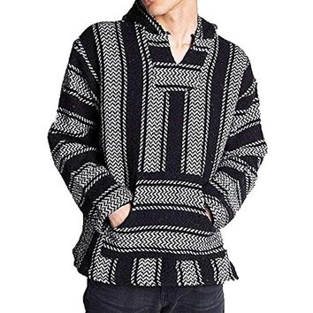Mexican Poncho - Baja Hoodie Jacket Sweater - Joe Stripes Woven