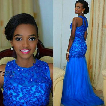 Halter High Neck Prom Dresses,Blue Prom Dress,Long Evening Dress