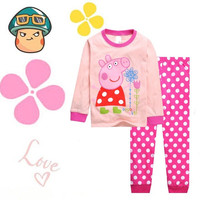 Kids Girls Peppa Pig Pajamas Soft Cotton Clothes Sleepwear Long Top + Trousers