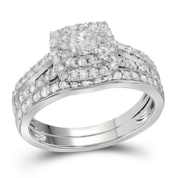 14kt White Gold Womens Round Diamond Double Halo Bridal Wedding Engagement Ring Band Set 1.00 Cttw (Certified)