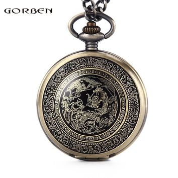 Vintage Chinese Traditions Dragon Design Pocket Watches Mens With FOB Chain Golden Dragon bronze Watch Gift Box Set GO46