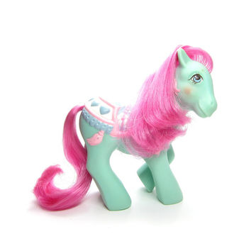 Tassels Merry Go Round My Little Pony Vintage G1 Toy with Saddle Blanket, Pink Hair