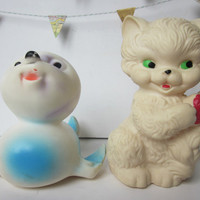 2 vintage french toys Rubber Squeak toy 1950 1960