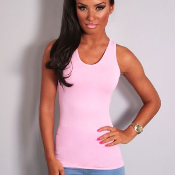 Bubblegum Pink Racerback Vest Top | Pink Boutique