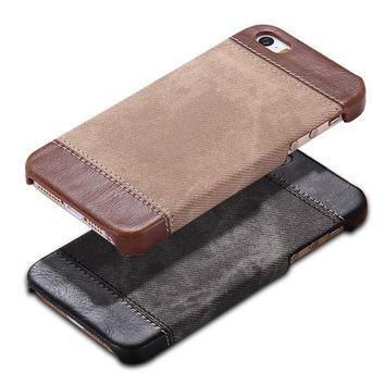 Case Cover for iPhone Hard Case 5 / 5S / SE Cowboy Luxury PU Leather