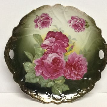 Vintage plate cake plate R W Bavaria beautiful roses with handles Victorian