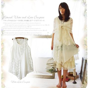 2d5746abac3 Japan Mori Girl Asymmetrical Fairy White Lace Dress Loose Casual