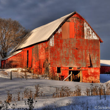 Red Barn Photo, Winter Photography, Matted Print and Photo Card, Rural Wisconsin, Snow, Rustic, Home Decor