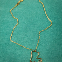 Louisiana State Necklace in Gold