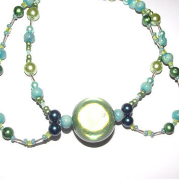 Chandelier jewelry necklace green by PetrasCreations on Etsy