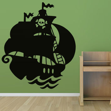 Kids Favorite Anime Skull Pirate Ship Wall Sticker PVC Home Decor Self Adhesive Waterproof Nursery Wall Decal