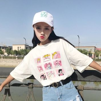 HAHAYULE Summer Funny Kawaii Cartoon Sailor Moon Letters Printed O-neck Short Sleeve Women Clothing Tops Girls Tee White Pink