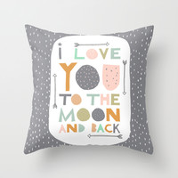 I love you to the moon and back - Grey Throw Pillow by Zoe Ingram