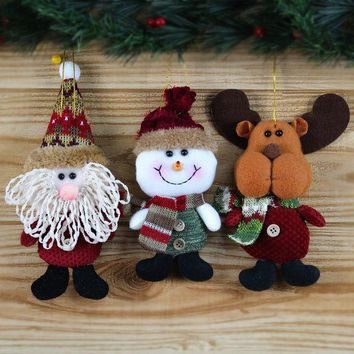 PEAPGB2 15pcs/lot Deer/Snowman/Santa Claus Dolls Chrismas Tree Decor for Festival Gift, Xmas Home Decoration Supplies Arbol De Navidad