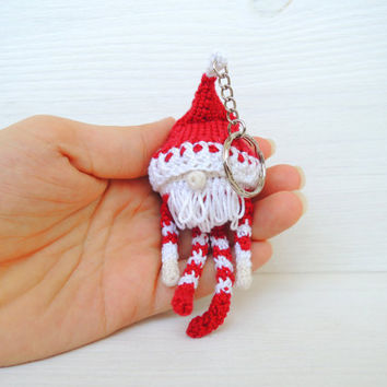 Keychain Santa Claus, Kawaii crocheted amigurumi, Xmas key holder, New Year gift ideas, Keyring good luck charm, Baby shower gift, Bag Charm